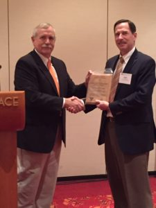 Dr. Keith Belli Accepting Family Forest Education Award on behalf of the University of Tennessee's Healthy Hardwoods Program